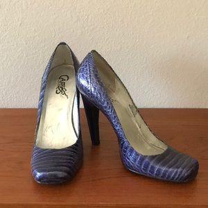 Indigo snake skin Carlos heels. Size 8